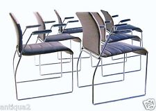SET SIX CHROME 70S POST MODERN ROUND BAR DINING CHAIRS KNOLL STYL CANTELEVER ARM
