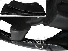 Cubierta del Volante Cuero Negro Real Para Nissan Dualis 2007+ White Stitching