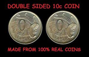 DOUBLE SIDED AUSTRALIAN 10 CENT COIN AU 10c DOUBLE HEADED DOUBLE TAILED COIN