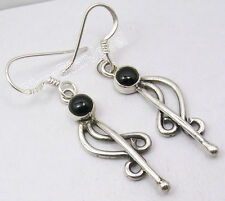 925 Sterling Silver Exclusive BLACK ONYX Unseen OXIDIZED SPIRAL Earrings 1.7""