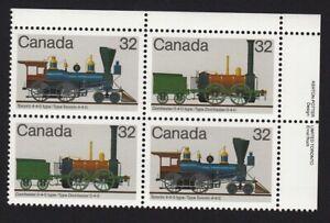 LOCOMOTIVES HISTORY (1836-1860) = Canada 1983 #1000a UR Block of 4 MNH