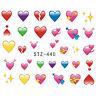 Nail art stickers décalcomanie ongles saint valentin coeurs emojis multicolores