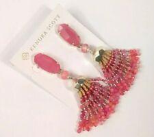 Kendra Scott Dove Statement Earrings Pink Rhodonite Mauve Gold Tassel NWT $150