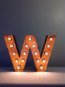 """New Rustic Metal Letter W Light Marquee: Sign Wall Decoration 12"""" Vintage"""
