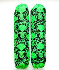 Shock Protector Covers Ski-Doo Bombadier BRP Neon Green Skulls Snowmobile Set 2