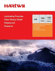 Hartwii 100 Sheets A4 Glossy  Laminating Pouches Film 150 Micron 216 x 303 Size