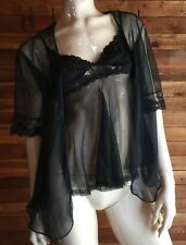 VINTAGE BLACK SIZE XS BABYDOLL NIGHTGOWN and SIZE MEDIUM PEIGNOIR or ROBE