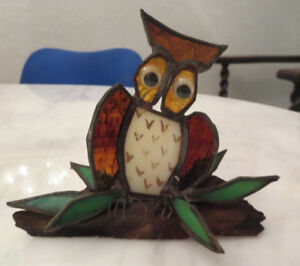 Vintage Stained glass Owl Sitting on Wood log