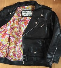 Genuine Soft Leather Vtg Paisley Lined Cropped Motorcycle Biker Jacket 8 4 36