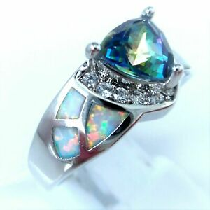 """GORGEOUS WHITE  FIRE OPAL/MYSTIC TOPAZ  RING UK Size """"R"""" US 8"""