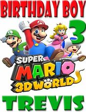 NEW SUPER MARIO 3D CUSTOM BIRTHDAY BOY SHIRT ADD NAME & AGE FOR FAMILY PARTY