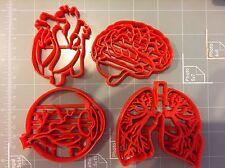 Human Anatomy Cookie Cutter Set (Heart, Lungs, Brain, Eye)