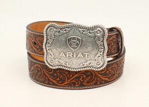 Ariat Mens Western Belt Floral Embossed Leather Strap Silver Logo A1020467