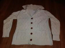 Vintage Hudson's Women's Chunky Cable Knit Fisherman Sweater Cardigan Size L c8