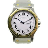 Auth Cartier Santos Octagon Watch Stainless Steel And 18K Yellow Gold