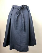Laura Ashley Linen Flared Skirt Navy Blue Size 10 Lined With Belt