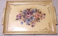 Vintage Flower Wood Wooden Tray With Handles Mid Century Hand Painted Floral
