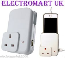 PLUG IN THROUGH MOBILE SMART PHONE HOLDER USB CHARGER 900MA 5V DC