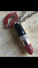 Necklace Charms Lips Made Swarovski Elements