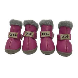 4Pcs/Set Winter Pet Dog Shoes Warm Snow Boots Waterproof Anti-slip Puppy Shoes