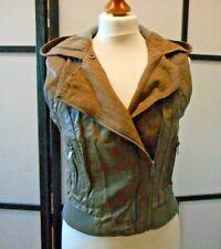 Topshop Brown Beige Size 10 Sleeveless Biker Jacket with Hood Waistcoat Gilet