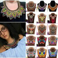 Women Vintage Big Pendants Necklaces Boho Beads African Choker Ethnic Jewelry