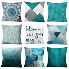 """Pillow Cover Teal Blue 2-Sided Home Decor Abstract Art Gray Cushion Case 16x16"""""""