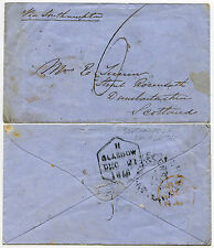 GB 1856 SHIP LETTER SOUTHAMPTON UNFRAMED CIRCLE on ENVELOPE to SCOTLAND 6d