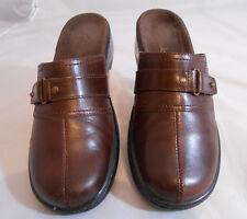 250cc9dfe0ca6 Clarks Cordovan Leather Slip On Block Heel Mules Shoes Women s Size ...