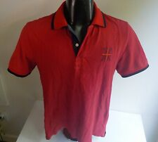 HACKETT London SS Polo w/Embroidered Flag /HACKETT Spellout SZ MED Tailored Fit