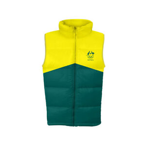 AOC Australian Olympic Adults L Supporter Padded/Puffer Vest Sport Green/Gold