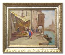 KNUT NORMAN *1896-1977 / MARKET STALL WITH CANOPY-Original Swedish Oil Painting