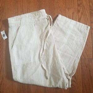 GAP Womans Ivory Tan Stripe Linen Blend Capri Pants Size XL