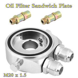 18 NPT Car Oil Filter Temp Pressure Cooler Gauge Sandwich Plate Adapter M20x1.5