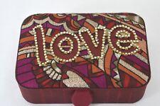 DESIGNER FASHION LOVE BEADED RED MULTICOLOR SATIN JEWELRY BOX ON SALE