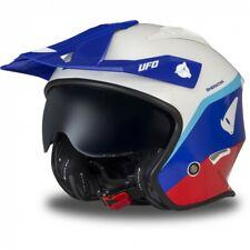 Casco Moto UFO Jet Sheratan Trial Scooter Color BMW Africa Twin Rojo Azul