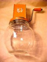 Vintage Chopper Grinder Red Orange Tin & Glass Jar - Nut Spice Herb AH #14 older