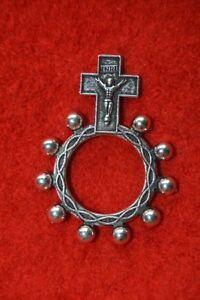 Réf 31 Dizainier métal croix Jésus chapelet rosaire scout pèlerinage prière KTO