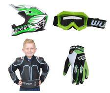 Kids Motocross Kit Wulfsport Defender Jacket Helmet Goggle Gloves Green Set #D9