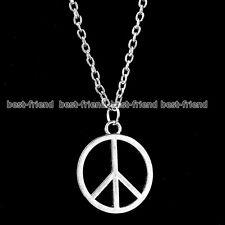 Costume Jewellery Unisex Silver Hippie 80s 90s Peace Sign Symbol Boho Necklace