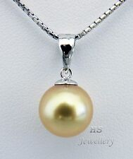 HS Round Rare Golden South Sea Cultured Pearl 9.5mm Pendant 18KWG Top Grading