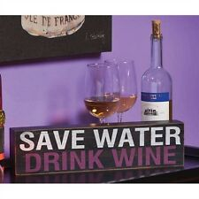 """Save Water Drink Wine Wooden Home or Bar Decor """"Plock"""""""