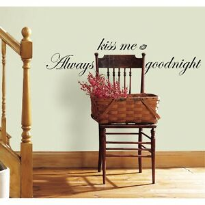ALWAYS KISS ME GOODNIGHT WALL DECALS Quote Home Black Stickers Room Decor