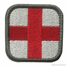 "Tactical Medic Patch EMT EMS First Aid Red Cross  US Morale Badge 2"" White"