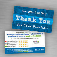 30 Blue ebay Seller THANK YOU Cards 5 Star Feedback Rating *Free Shipping*