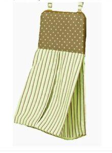 New Baby Kathy Ireland home chocolate mint diaper Stacker green brown polka dot