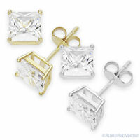 Princess Square Cut CZ Crystal Stud Earrings 925 Sterling Silver Push-Back Studs