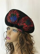 Vtg Italy Womens Hat 1930s 1940s Black Velour Red Feathers Asymmetrical Art Deco