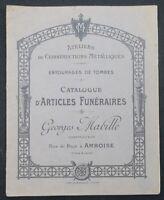 Catalogue 1908 GEORGES MABILLE ARTICLES FUNERAIRES Amboise Tombe cimetière