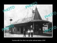 OLD LARGE HISTORIC PHOTO OF VOORHEESVILLE NEW YORK, THE RAILROAD STATION c1930
